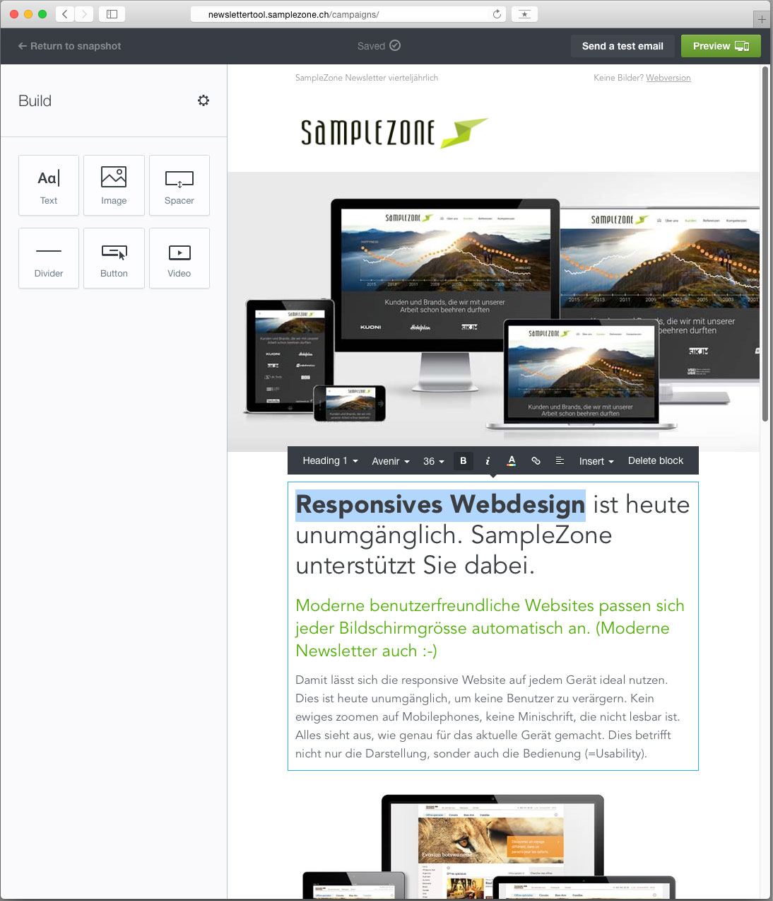 SampleZone Newslettertool Editor