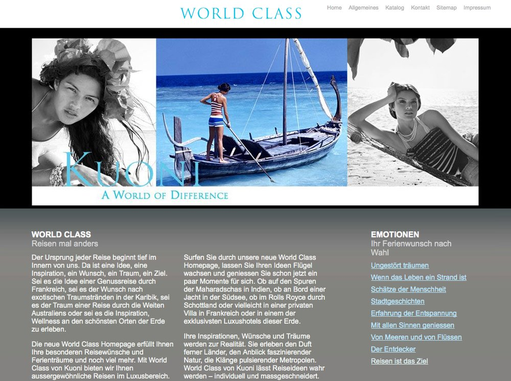 World Class Reisen – Inspiration im Premium Segment. Website mittels Content Management System umgesetzt. Flash-Technologie für Category Slider und Karten Animationen.