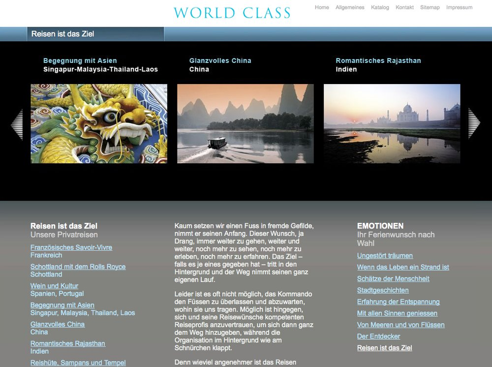 World Class Reisen – Inspiration im Premium Segment. Website mittels Content Management System umgesetzt. Flash-Technologie für Category Slider und Karten Animationen. - 2