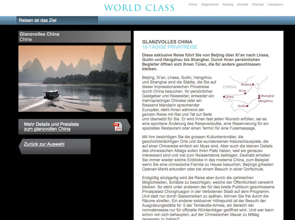World Class Reisen – Inspiration im Premium Segment. Website mittels Content Management System umgesetzt. Flash-Technologie für Category Slider und Karten Animationen. - 3