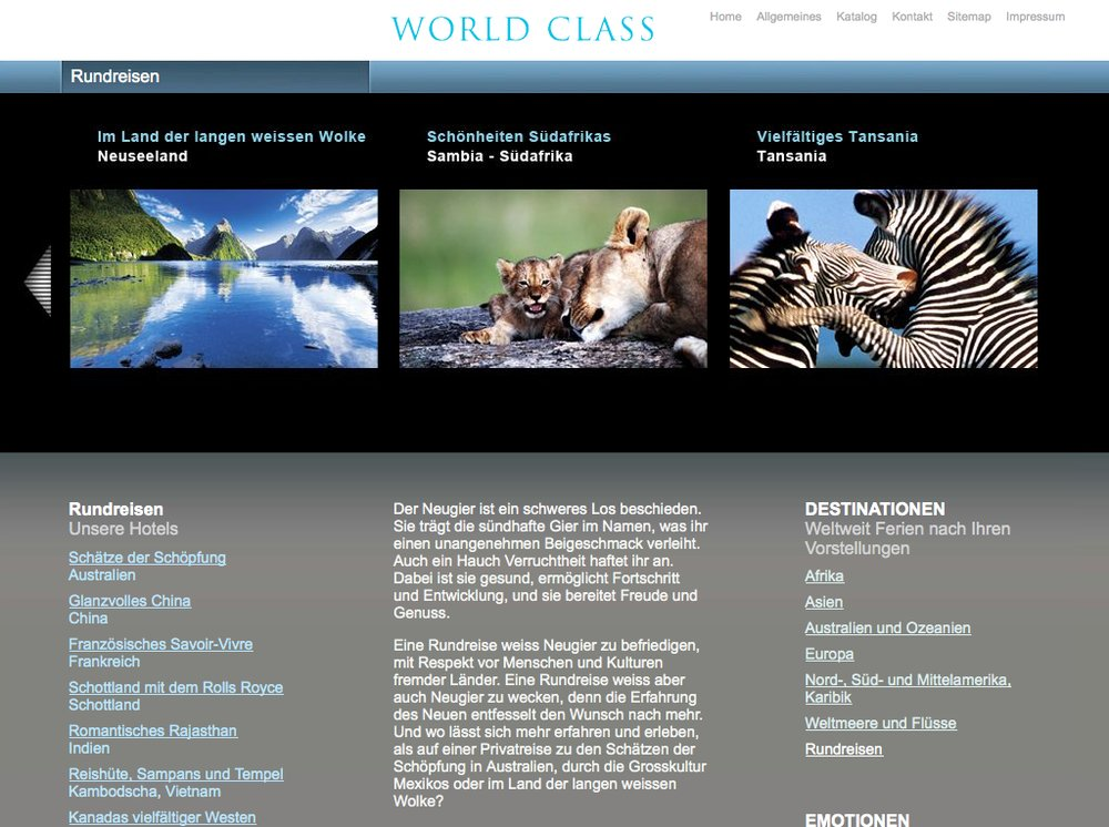 World Class Reisen – Inspiration im Premium Segment. Website mittels Content Management System umgesetzt. Flash-Technologie für Category Slider und Karten Animationen. - 4
