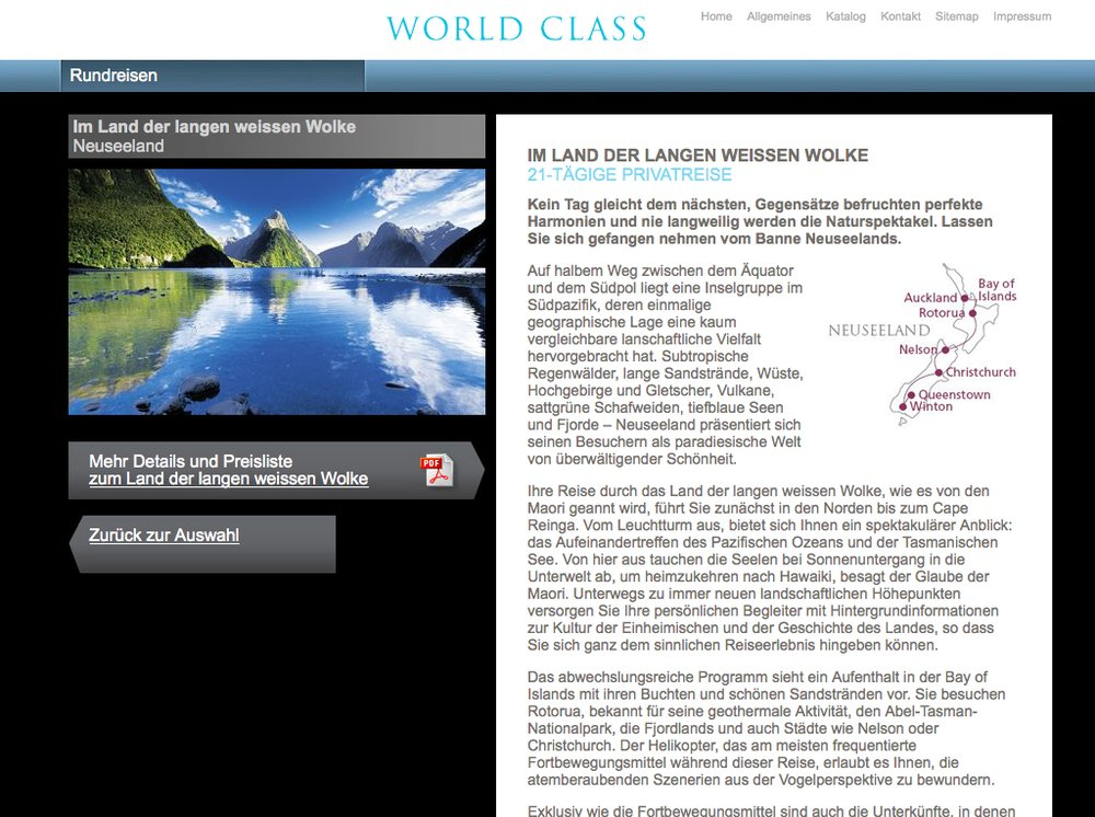 World Class Reisen – Inspiration im Premium Segment. Website mittels Content Management System umgesetzt. Flash-Technologie für Category Slider und Karten Animationen. - 5