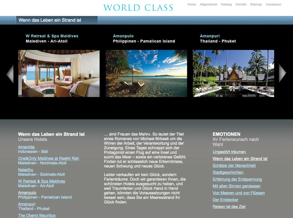 World Class Reisen – Inspiration im Premium Segment. Website mittels Content Management System umgesetzt. Flash-Technologie für Category Slider und Karten Animationen. - 6