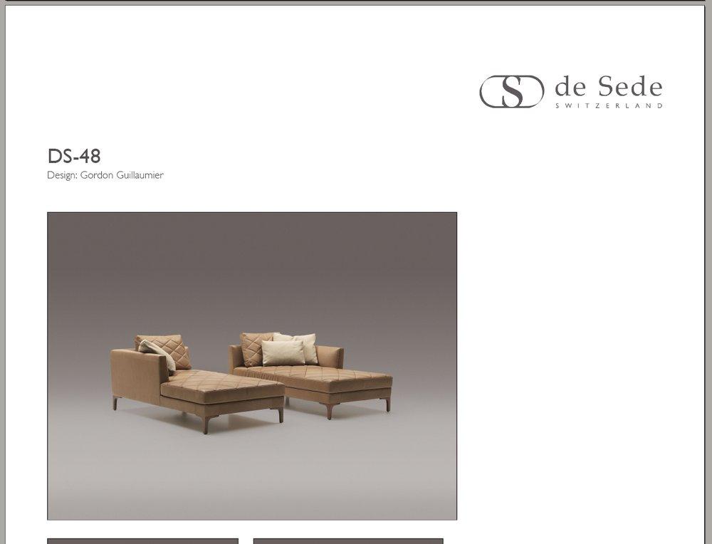 de sede automatisch generierte produkt flyer als pdf webagentur z rich. Black Bedroom Furniture Sets. Home Design Ideas
