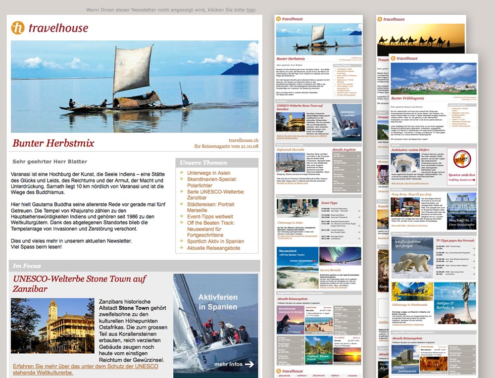 travelhouse newsletter webdesign und template webagentur z rich. Black Bedroom Furniture Sets. Home Design Ideas