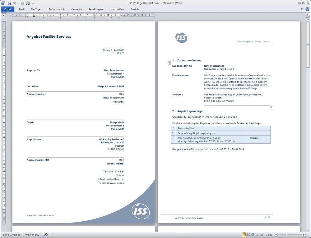 Iss Word Vorlage Mit Eingabeassistenten Für Offerten Webagentur
