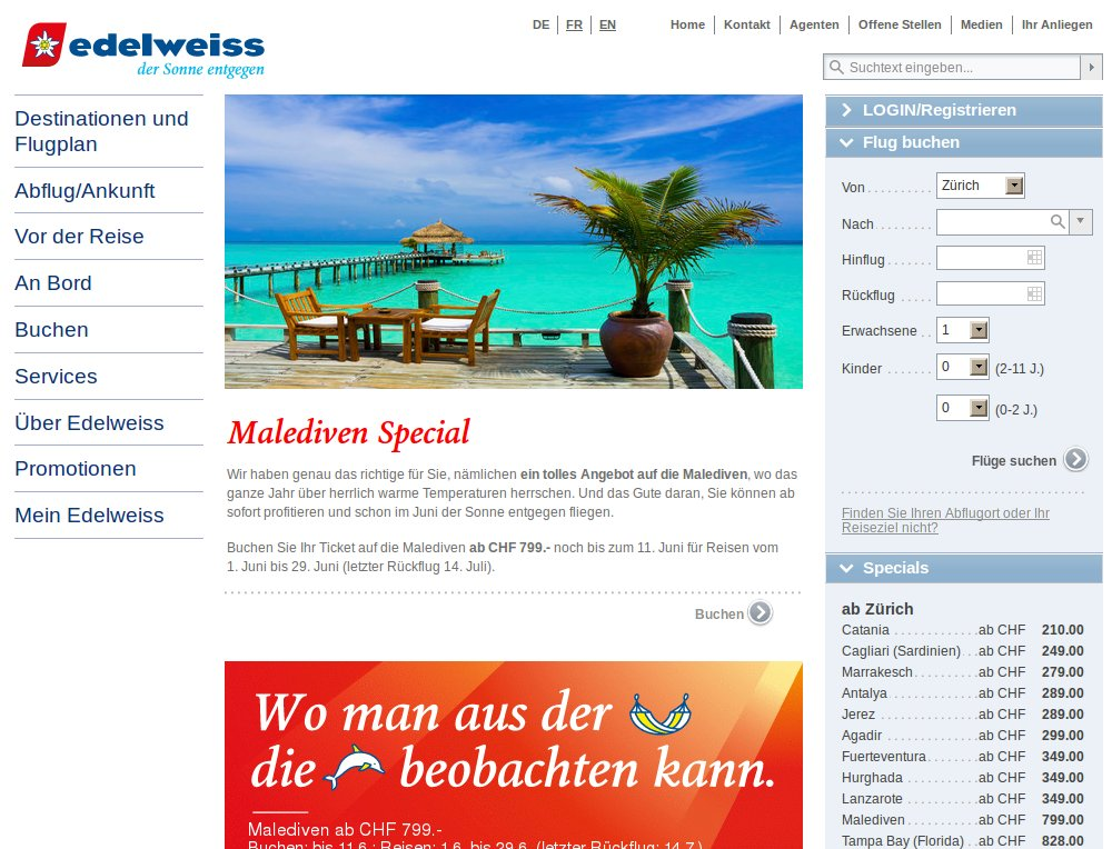 Redesign von Webauftritt und Booking Engine am Live-System, Online Retargeting Integration.