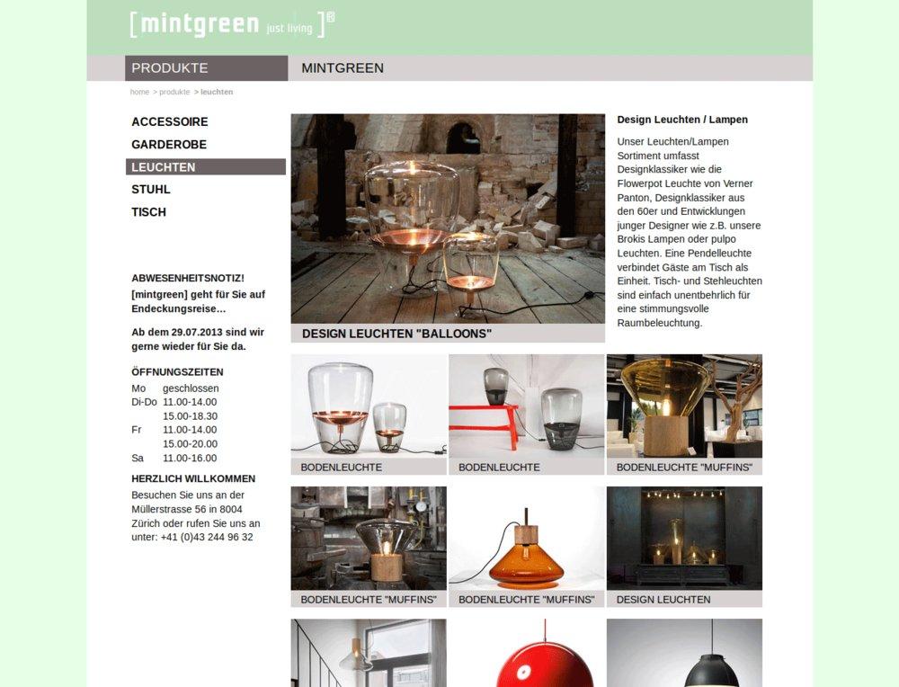 mintgreen website mit online katalog webagentur z rich. Black Bedroom Furniture Sets. Home Design Ideas