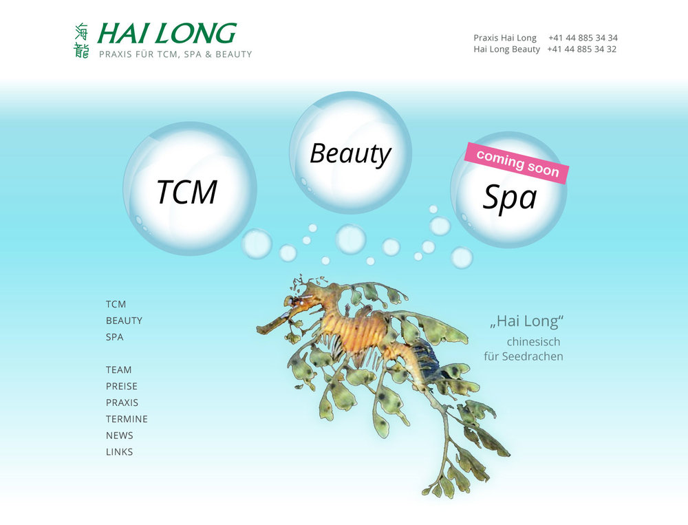 "Responsive Webdesign für TCM, Spa & Beauty Praxis ""Hai Long"" inklusive online Booking Engine."