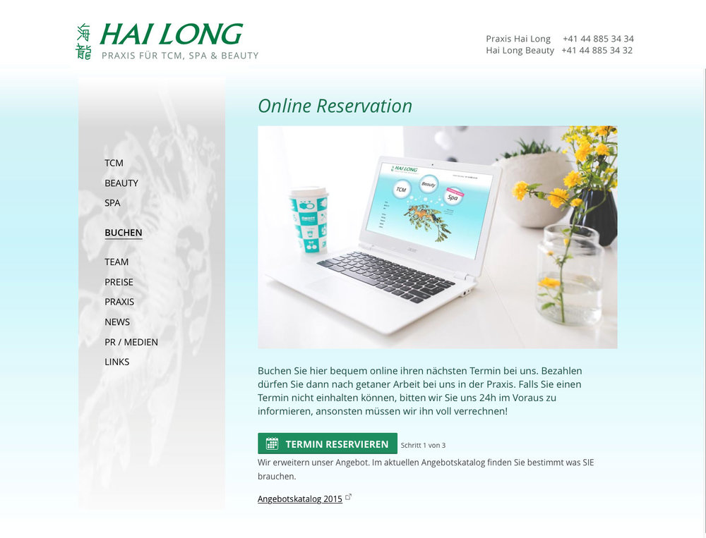 "Responsive Webdesign für TCM, Spa & Beauty Praxis ""Hai Long"" inklusive online Booking Engine. - 3"