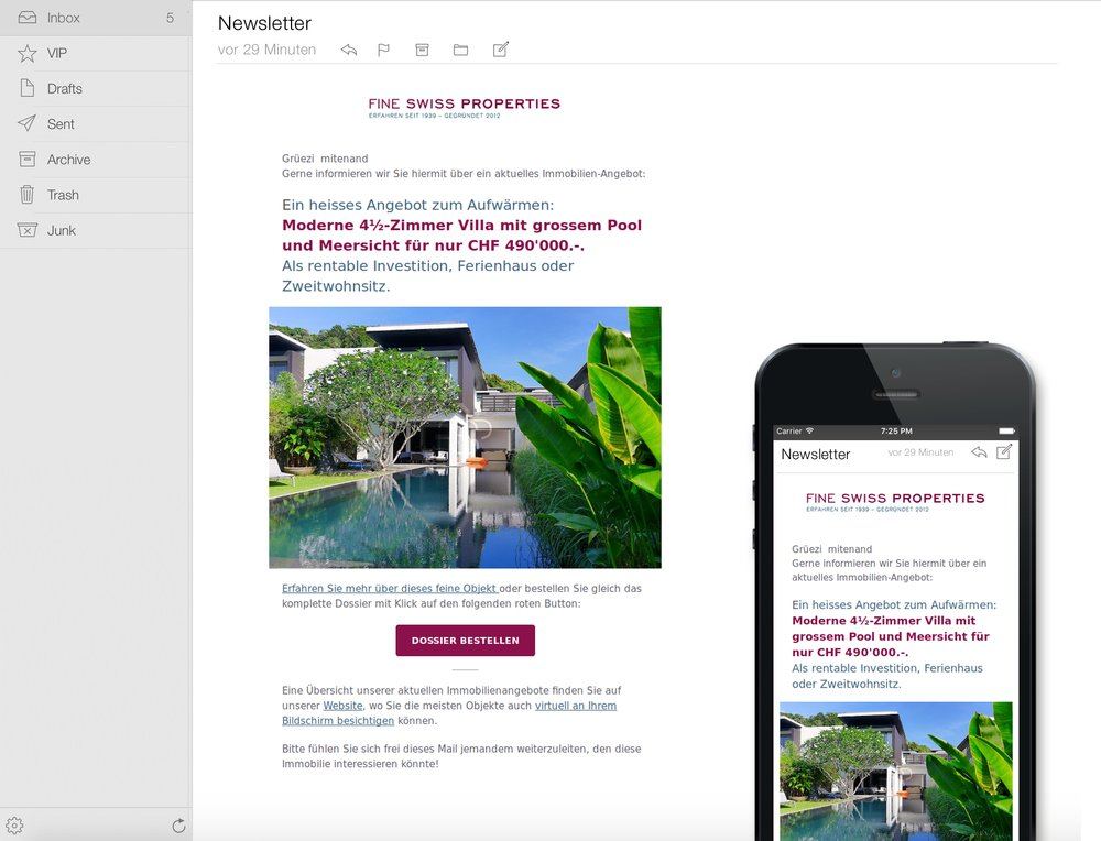 Responsive Immobilien-Newsletter mit Angebots-Highlights ...